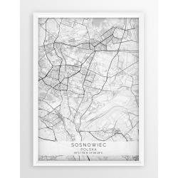 Plakat, mapa SOSNOWIEC - linia WHITE