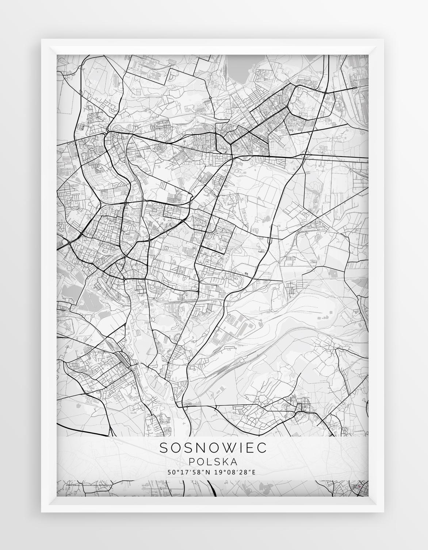 Plakat Mapa Sosnowiec Seria White