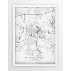 Plakat, mapa MIŃSK MAZ. - linia BLUE/GRAY