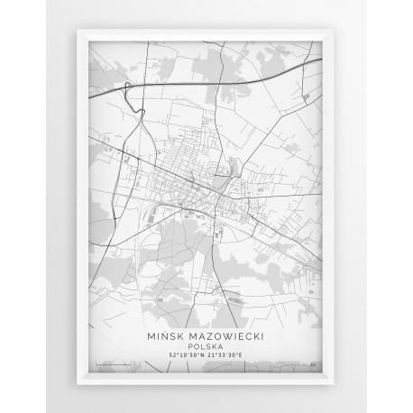 Plakat mapa MIŃSK MAZ. - linia WHITE