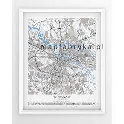 Plakat, mapa WROCŁAW - linia BLUE/GREY