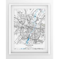 Plakat, mapa RZESZÓW - linia BLUE/GREY - PASSEPARTOUT