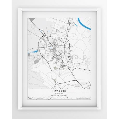 Plakat, mapa LEŻAJSK - linia BLUE/GREY-PASSEPARTOUT