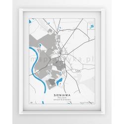 Plakat, mapa SIENIAWA - linia BLUE/GREY-PASSEPARTOUT