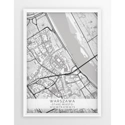 Plakat mapa WARSZAWA / STARE MIASTO - linia WHITE