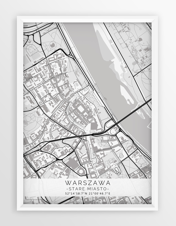 Plakat Mapa Warszawa Stare Miasto Seria White