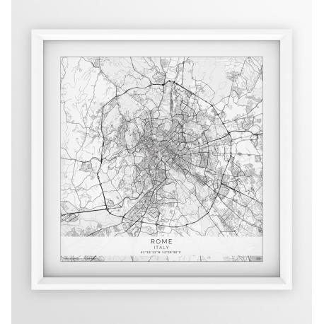 Plakat mapa RZYM - wersja kwadratowa WHITE