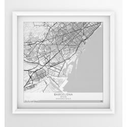 Plakat, mapa Barcelona - wersja kwadratowa WHITE