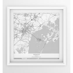 Plakat mapa WENECJA - wersja kwadratowa WHITE
