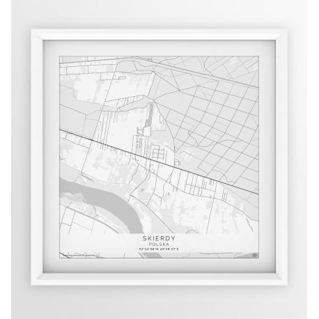 Plakat mapa SKIERDY - wersja kwadratowa WHITE