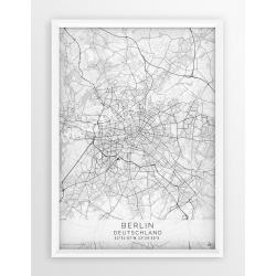 Plakat, mapa BERLIN - linia WHITE