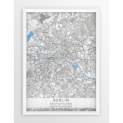 Plakat, mapa BERLIN - linia BLUE/GREY