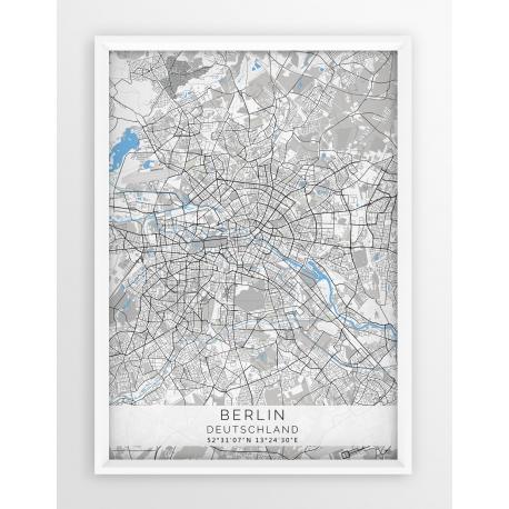 Plakat, mapa BERLIN - linia BLUE/GREY