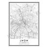 Plakat, mapa LWÓW - linia WHITE z czarną ramką