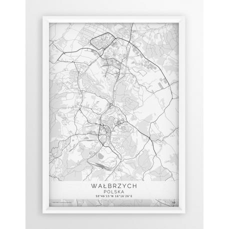 Plakat mapa WAŁBRZYCH - linia WHITE