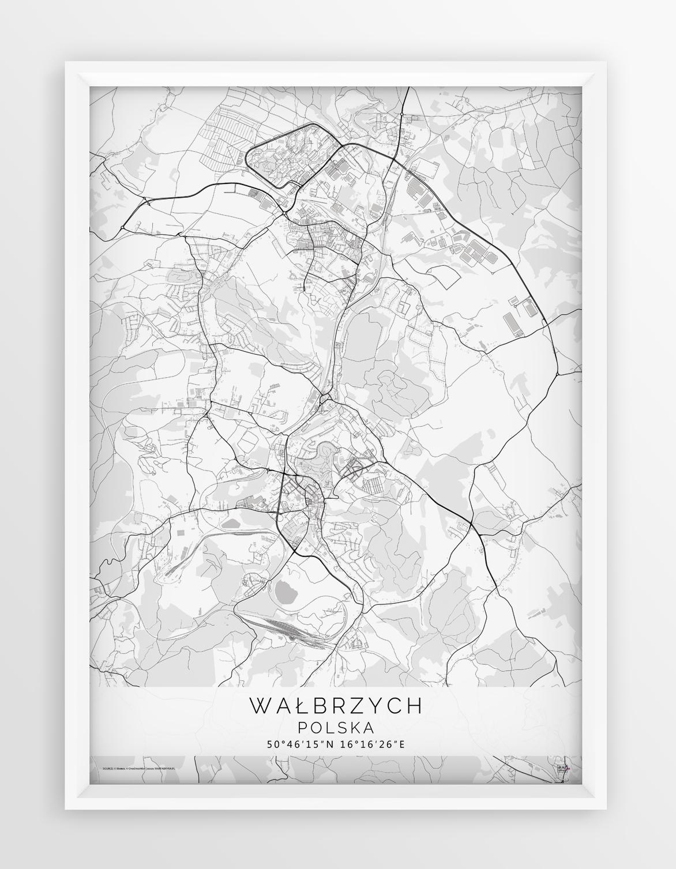 Plakat Mapa Walbrzych Seria White