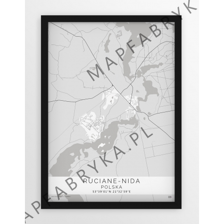 Plakat mapa RUCIANE NIDA - linia WHITE