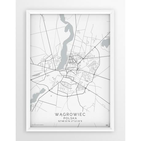 Plakat mapa WĄGROWIEC - linia WHITE