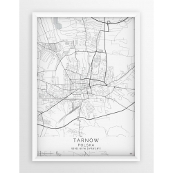 Mapa plakat TARNÓW- linia WHITE