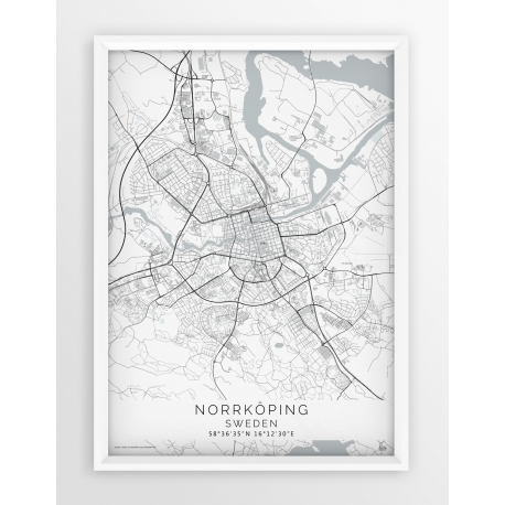 Plakat mapa NORRKÖPING - linia WHITE