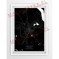 Plakat mapa GOŁDAP - linia BLACK z białym passe-partout