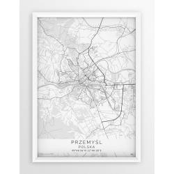 Plakat mapa PRZEMYŚL - linia WHITE