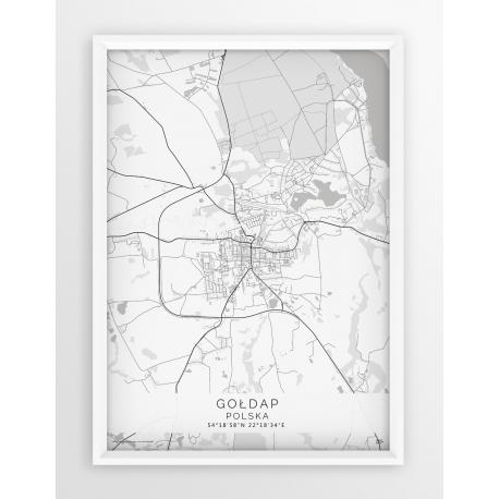 Plakat mapa GOŁDAP - linia WHITE