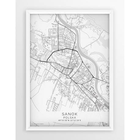 Plakat mapa SANOK - linia WHITE