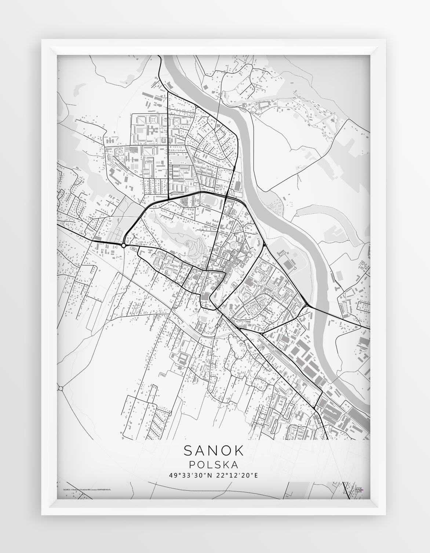 Plakat Mapa Sanok Seria White