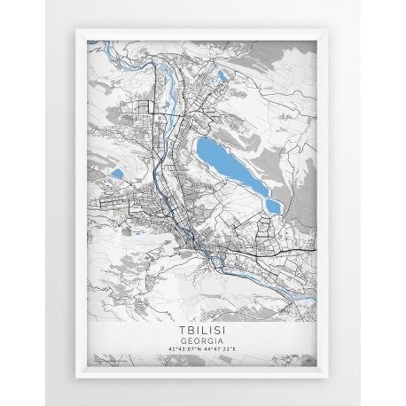 Plakat, mapa TBILISI - linia BLUE/GREY