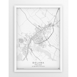 Plakat mapa BIELAWA - linia WHITE