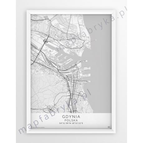 Plakat mapa GDYNIA - linia SPECJAL WHITE