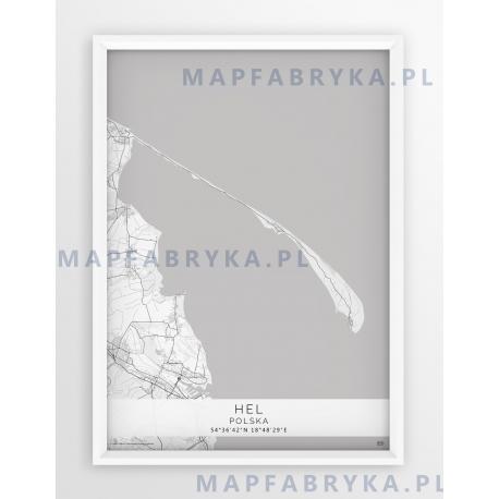 Plakat mapa HEL - linia WHITE