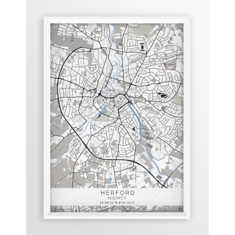 Plakat, mapa HERFORD - linia BLUE/GRAY