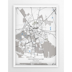 Plakat, mapa INOWROCŁAW - linia BLUE/GRAY