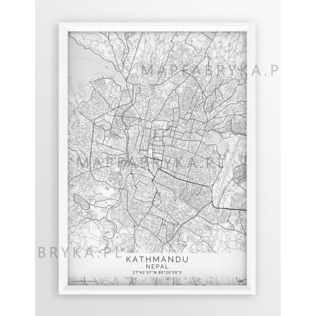 Plakat mapa KATHMANDU - linia WHITE