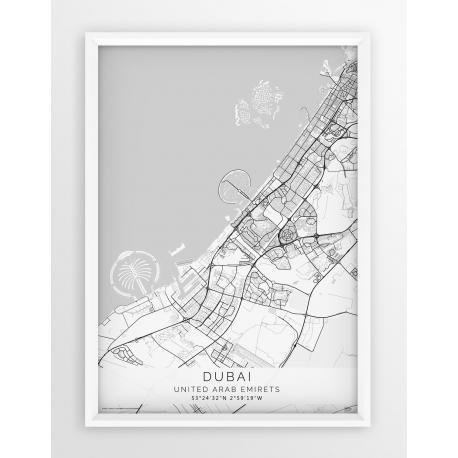 Plakat mapa DUBAI - linia WHITE
