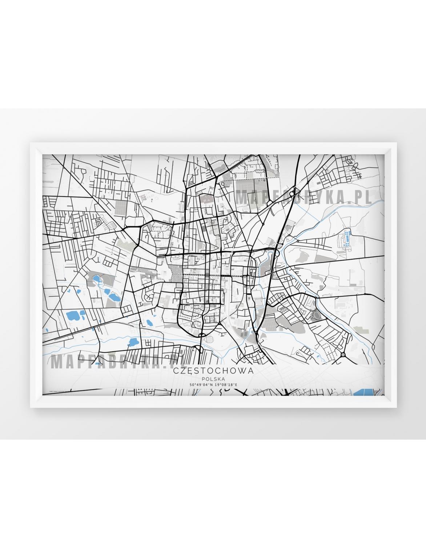 Plakat Mapa Czestochowa Seria G B Wersja Pozioma