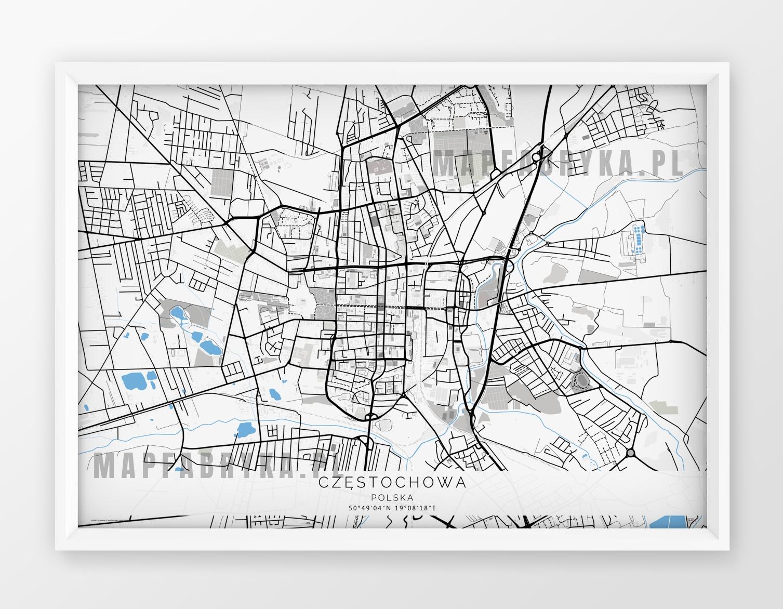 Plakat Mapa Częstochowa Seria Gb Wersja Pozioma
