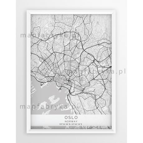 Plakat mapa OSLO - linia WHITE