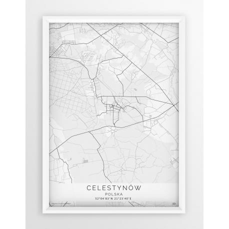 Plakat mapa CELESTYNÓW - linia WHITE