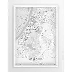 Plakat mapa GRUDZIĄDZ - linia WHITE