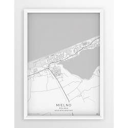Plakat mapa MIELNO- linia WHITE
