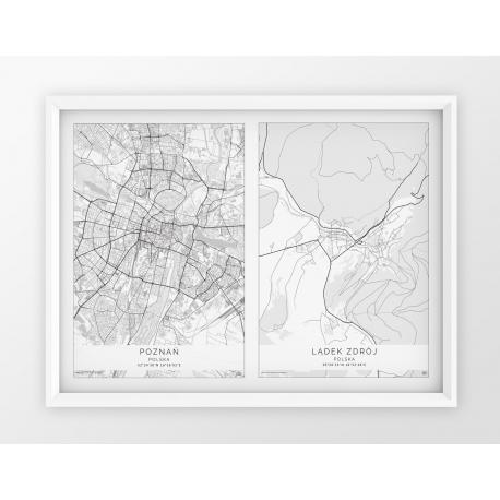 Plakat mapa DWA MIASTA - linia WHITE