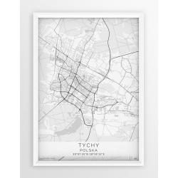 Plakat mapa TYCHY - linia WHITE