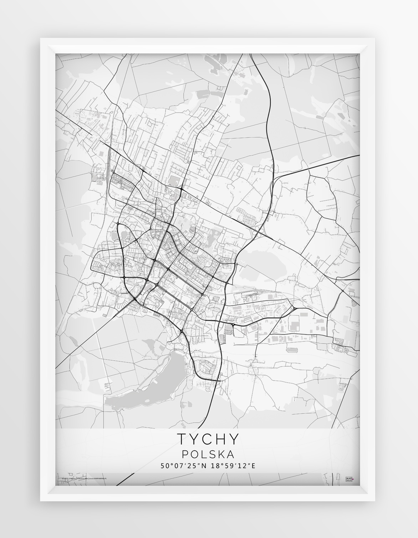 Plakat Mapa Tychy Seria White