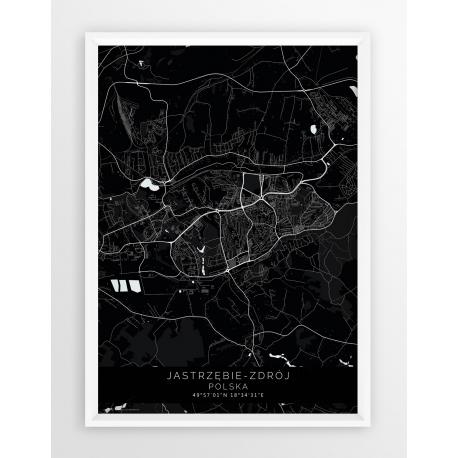 Plakat mapa JASTRZĘBIE-ZDRÓJ- linia BLACK