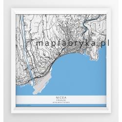 Plakat  kwadratowy mapa NICEA - linia BLUE/GRAY