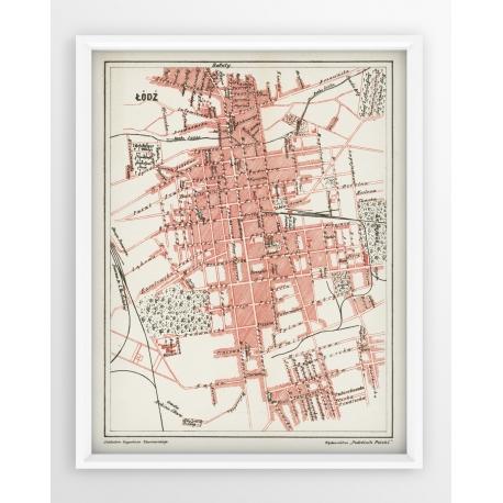 Stara mapa/plan ŁÓDŹ (1903r) - reprint