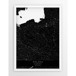 Plakat mapa POLSKA- linia BLACK